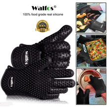 WALFOS 1 piece food grade Heat Resistant Silicone Kitchen barbecue oven glove Cooking BBQ Grill Glove Oven Mitt Baking glove