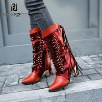 Prova Perfetto/красные, Черные полусапожки на высоком каблуке, с острым носком, бахромой и бахромой, из натуральной кожи, Bota, разноцветные, с металл