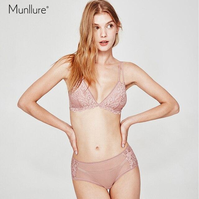 96bb184ecf Munllure Pink no steel ring bra ultra-thin lace triangle cup non-slip  shoulder strap underwear briefs suit women bra set