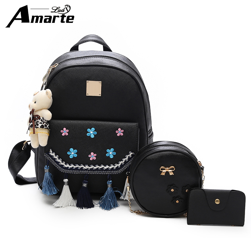 Amarte 2018 Fashion Backpack Women Pu Leather Back Pack Famous Brand School Bags for Girls sac a dos femme with Purse and Bear