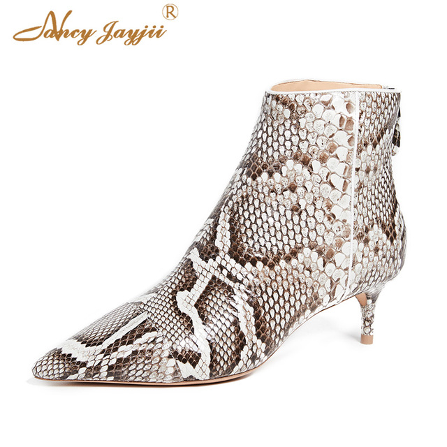cbc031a273df Snake Print Boots Kitten Heeled Low Heel Big Size 12 Bota Womens Shoes  Ladies Pointed Toe
