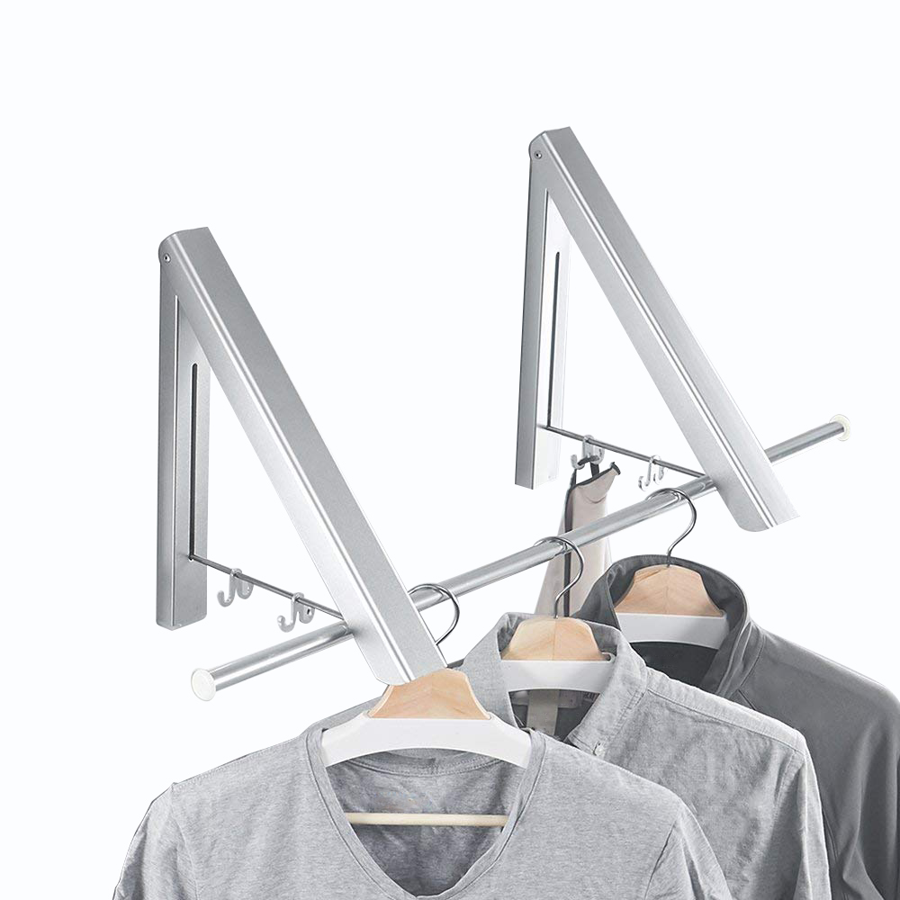 Folding Clothes Hanger Adjustable Drying Rack Retractable Coat Hanger Home Storage Organiser Instant Closet, Wall Mounted