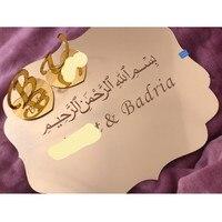 Personalized Name / Date Wedding Tray Acrylic Mirror Wall Stickers Private Custom Mirror Plate Wedding Decor Verlobungstablett