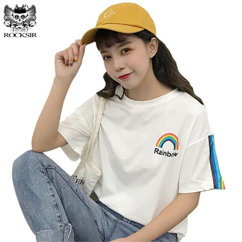 Rocksir 2018 New Harajuku Rainbow Printed Cotton Tshirt Women Summer Colorful Striped Sleeve Tee Shirt Fashion Casual Tops Femme