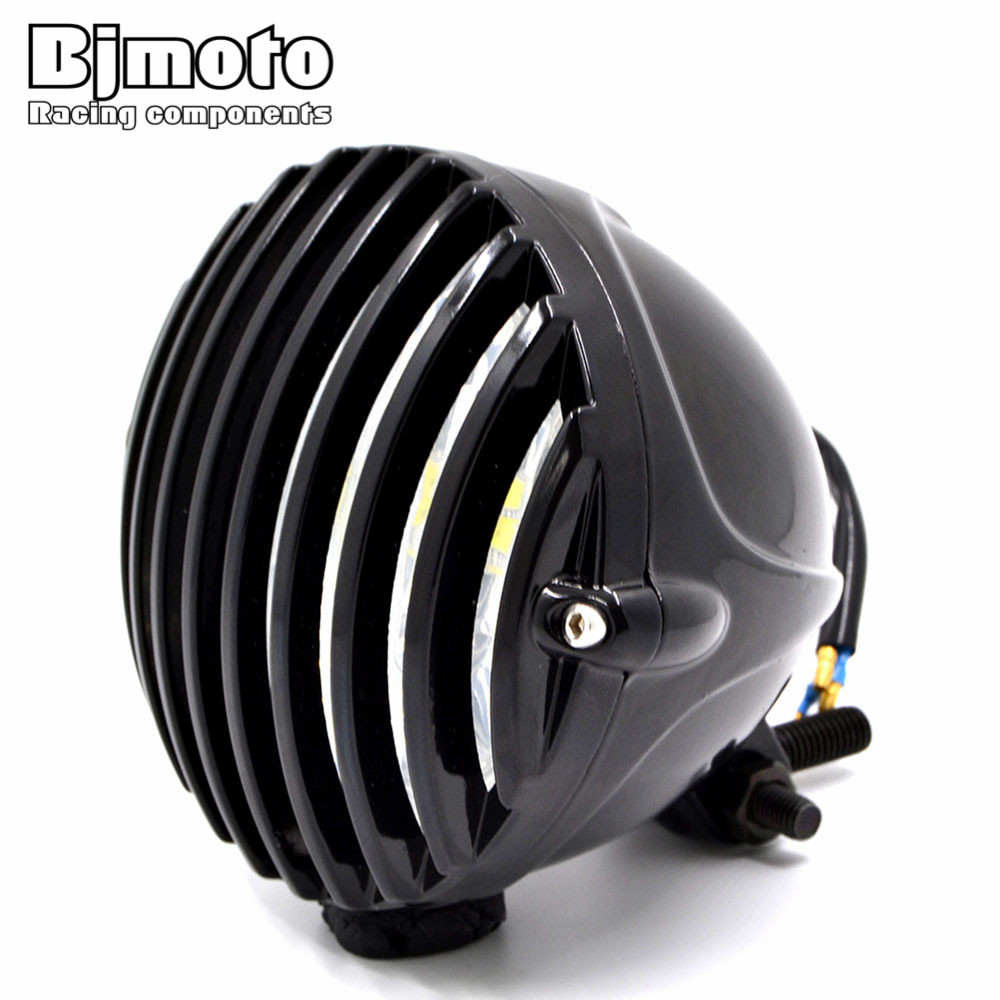 Bjmoto полная Бальк 4-7/8 ''светодиодный мотоцикл фар Туман свет фар фарол для Harley Кафе Racer Chopper Bobber touring пользовательского
