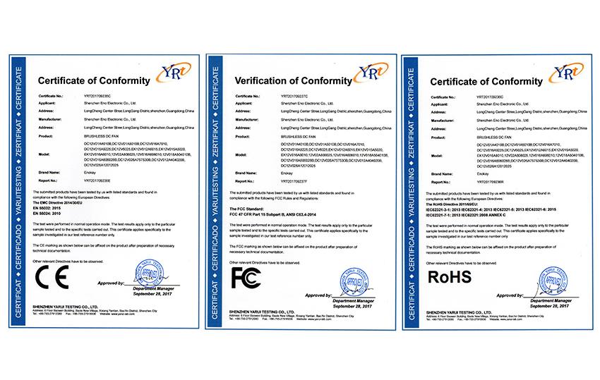 Fan certificate