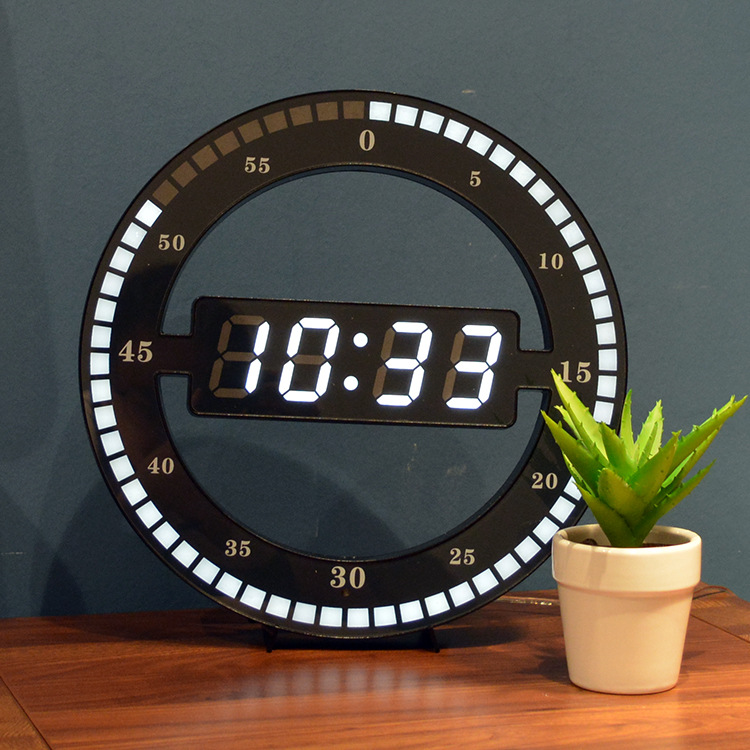 12 Inch Simple LED Ring Wall Clock Automatic Photosensitive Digital Electronic Clock Office Bedroom Plastic Clock Round ZM132