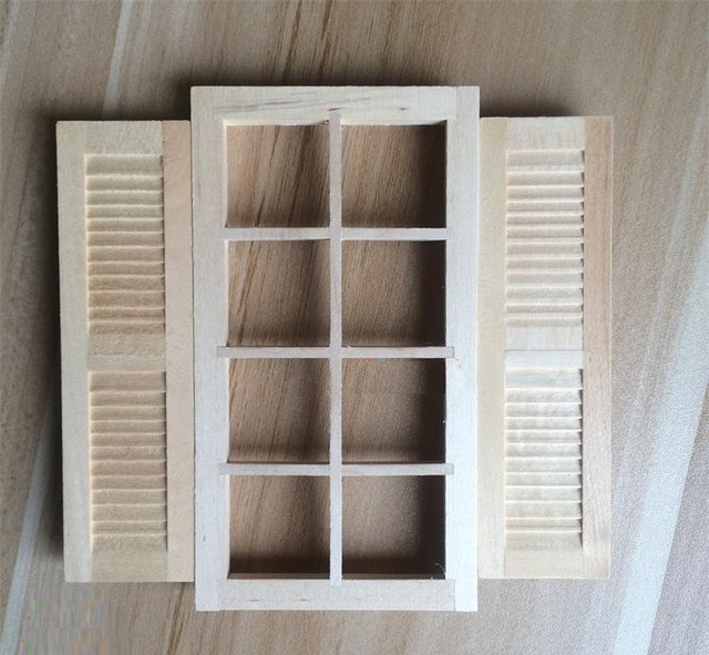 1:12 Dollhouse miniatura muebles de madera mini modelo ventanas ...