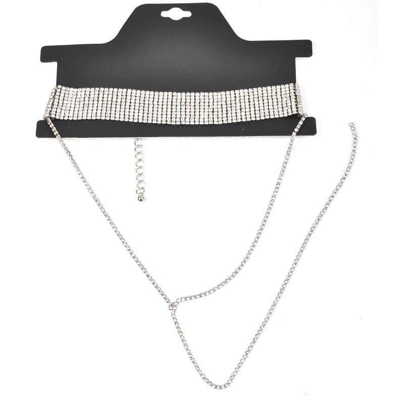 ラインストーンチョーカー高級クリスタル宝石ネックレスグリッター襟チョーカーファッションネックレスロングチェーンパーティー