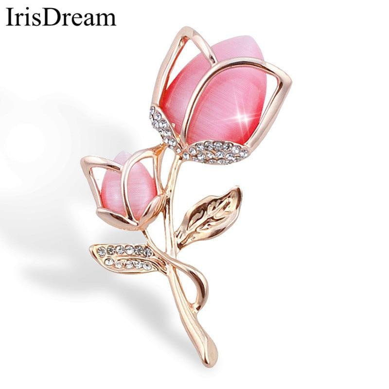 Elegant Gold Color Tulip Brooch Pins Scarves Colth Collar: Elegant Gold Metal Pink Tulip Flower Brooch Pin For Women