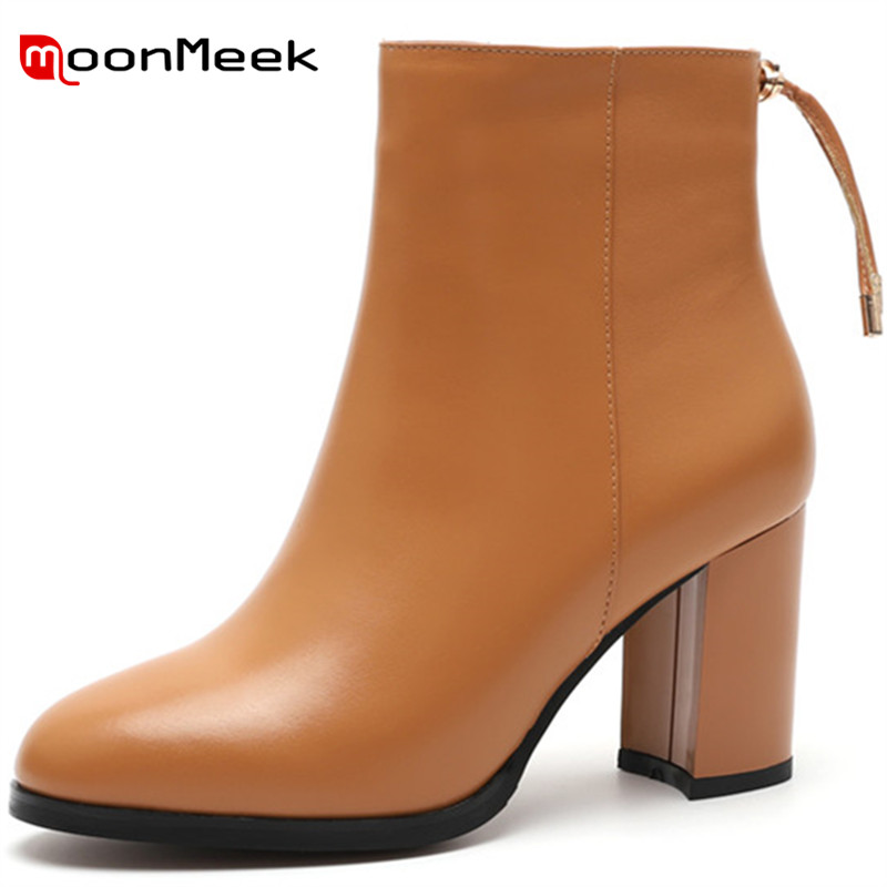 MoonMeek black ankle boots for women pointed toe zip genuine leather boots cross tied thick high heels boots ladies shoes цена 2017