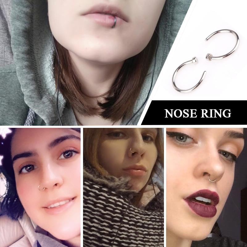 Fake Septum Medical Titanium Nose Ring Silver Gold Body Clip Hoop
