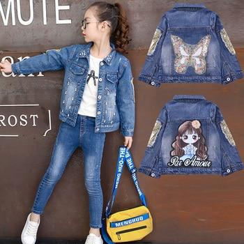 52e215f67c4a6 Niñas chaquetas agujero estilo vaquero adolescentes ropa de bordado de moda  niñas chaquetas abrigos niños ropa para niños chaqueta de Jean