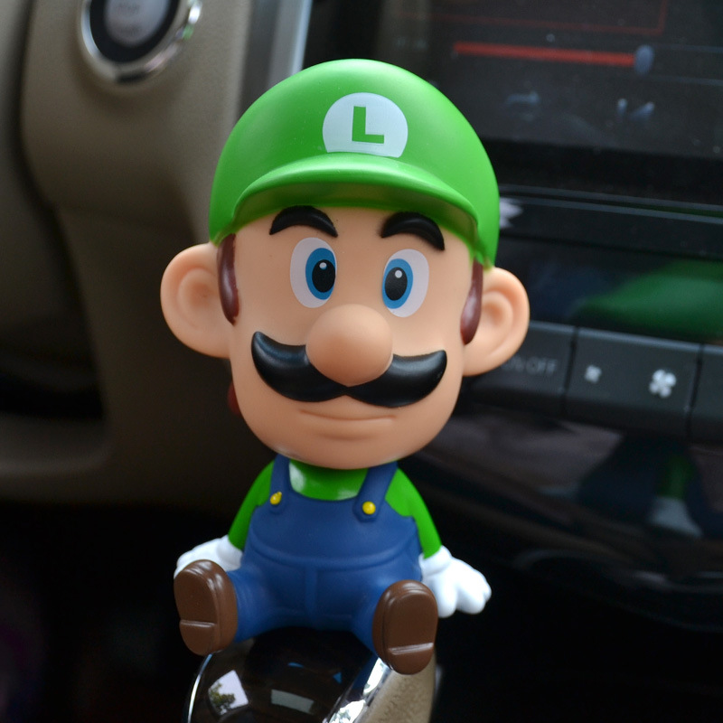 13cm Super Mario Bros Action Figure Toys Mario Head Shaking Figure Model Car Furnishing Articles Baby Toys Toy For Children the walking dead action figure zombie figures head resin crystal car ornament home desk decoration furnishing articles
