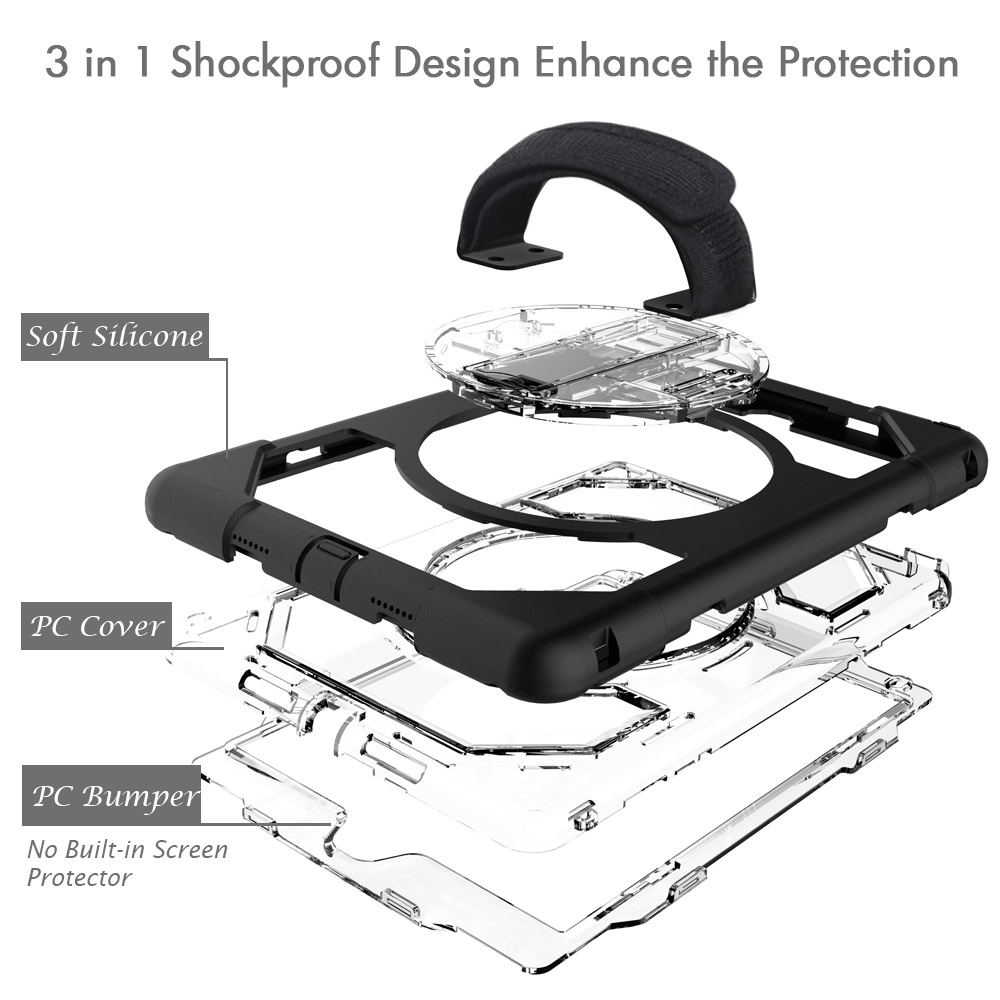 Miesherk Case for iPad Pro 9.7 Shockproof Heavy Duty Armor 360 Degree Rotating Hidden Kickstand for iPad A1673 A1674 A1675