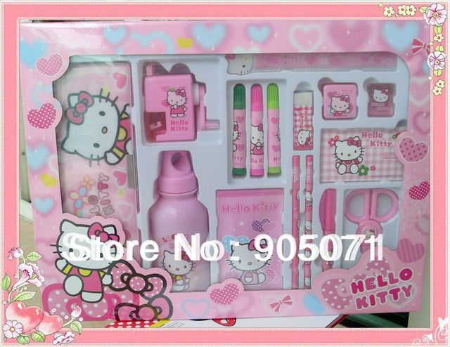 713b257a7 Hot sale, Hello kitty stationery set, 16 pcs sets, inlude pencilbox, kettle  , pen, color pen, safe pair of scissors and so on