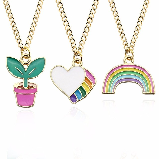 DIY Trendy Love Heart Pendant Kawaii Rainbow Potted Plant Necklace Gold Chain Ne