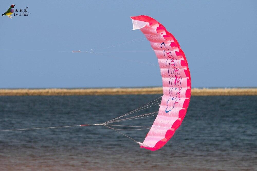 Free-Shipping-Outdoor-Fun-Sports-Power-Dual-Line-Stunt-Parafoil-Parachute-Rainbow-Sports-Beach-Kite-For-Beginner-4