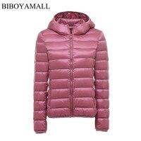 BIBOYAMALL Kadınlar Ultra Hafif Aşağı Ceket Kapüşonlu 90% Kış Ördek aşağı Ceketler Kadın Parka Fermuar Coats Artı Boyutu XXXL Pembe siyah