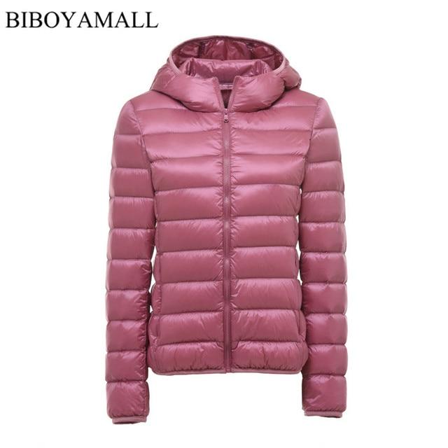 BIBOYAMALL Mulheres Ultra Leve Para Baixo Pato Jaqueta Com Capuz 90% Inverno para baixo Parka Casacos Mulheres Zipper Coats Plus Size XXXL Rosa preto