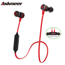 Cheap price Askmeer Wirless Bluetooth Earphone Metal Magnetic Switch Sport Sweatproof Stereo Earbuds Headset with Mic for iPhone/Xiaomi