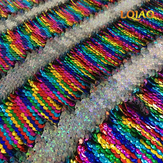 2f2f11864 125 45CM Reversible Mermaid Paillette Sequin Fabric for Tissue Kids Bedding  textile for Sewing Tilda Doll