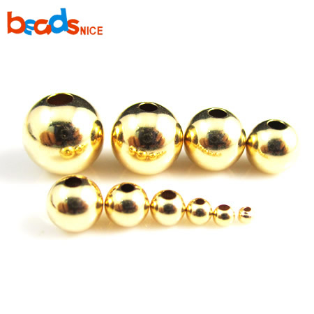 Beadsnice 14kt Gold Filled Seamless Beads Seamless Round Spacer Beads For Bracelet & Necklace Making 26093