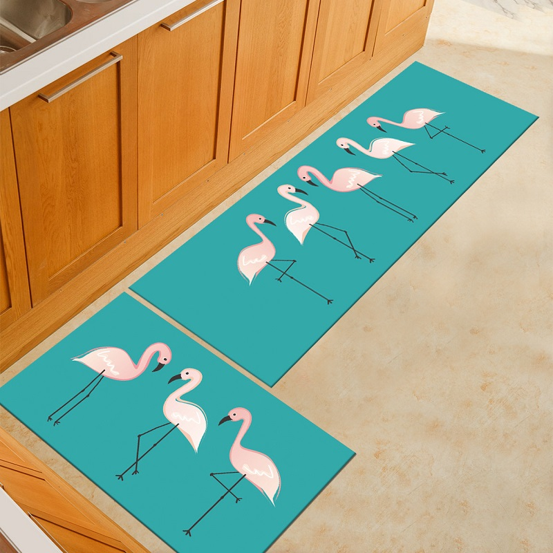 Flamingo Cat Kitchen Mat Animal Printed Kitchen Mats Cooking Rugs Kitchen Floor Mat Balcony Bathroom Carpet Entrance Door Mats