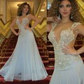 Celebrity Dress Myriam Fares Arabic Long Cap Sleeve Sheer Back with Lace Applique Sexy Red Carpet Dress Prom Gown Vintage
