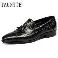 Luxury Quality Handmade Genuine Leather Dress Shoes Men Crocodile Pattern Oxfords Formal Moccassins Tassel Bussiness Casual