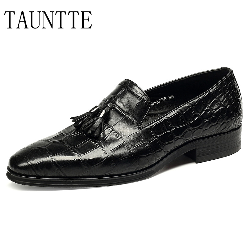 Luxury Quality Handmade Genuine Leather Dress Shoes Men Crocodile Pattern Oxfords Formal Moccassins Tassel Bussiness Casual Shoe choudory summer dress crocodile skin shoes men breathable prom shoes full grain leather pointy mens formal shoes shoe lasts