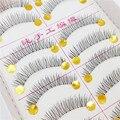 10 par Mulheres Profissão Cílios Postiços Transparente Artesanal Cruzam Natural Falso Eye Lashes Cosméticos