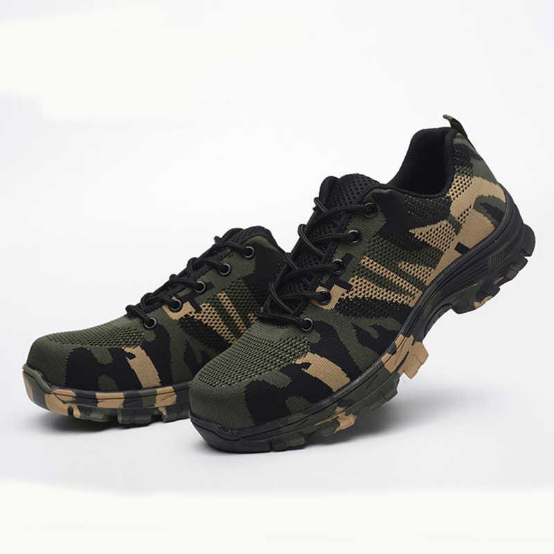 Stalen Neus Schoenen Mannen Werken Laarzen Ademend Camouflage Werk Veiligheid Schoenen voor Man Staal Punctie Proof Constructie Veiligheid Laarzen