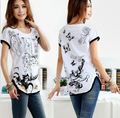2016 Nova Moda Plus Size Camiseta Mulheres S-3XL Batwing Manga Solta camisetas O Pescoço da Cópia Floral Tops A109