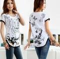 2016 S-3XL Мода Новые Плюс размер Футболки Женщины Свободные футболки О-Образным Вырезом Цветочные Печати Batwing Рукавом A109