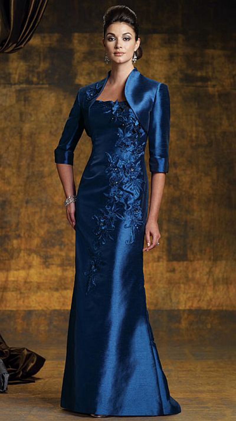 2016 Plus Size Mother Of The Bride Dresses With Jacket Sheath Floor-Length Gorgeous Three Quarter Sleeve Appliques Taffeta Dress