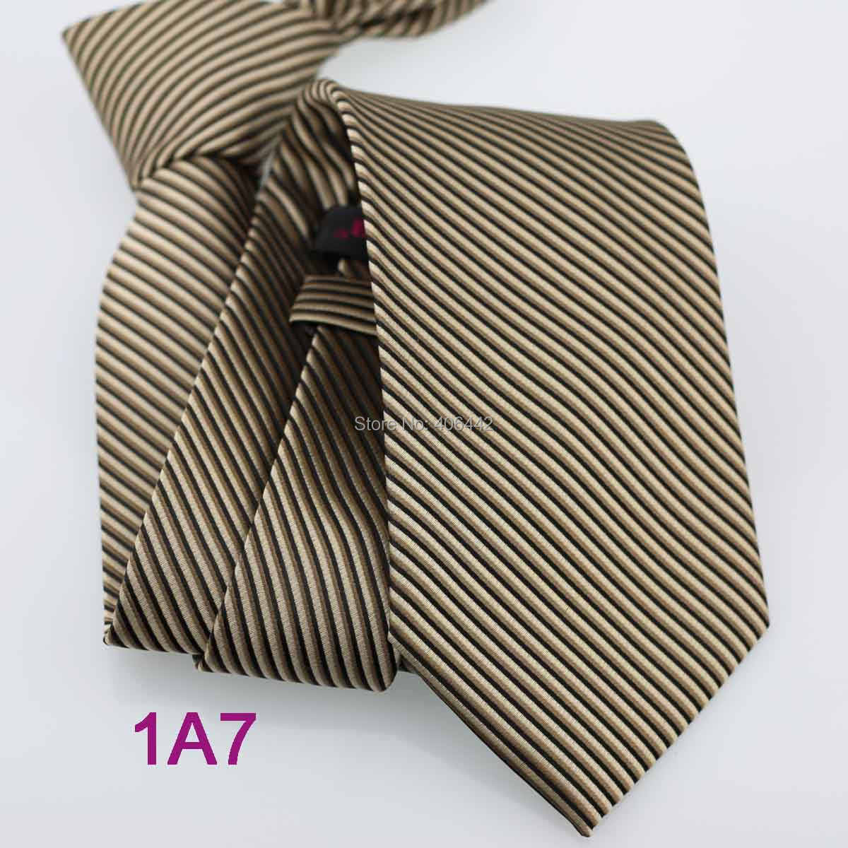 Coachella pria Kopi Dengan Hitam Stripes Jacquard Woven Dasi Neck Tie untuk mencocokkan kemeja Formal Wedding dresses
