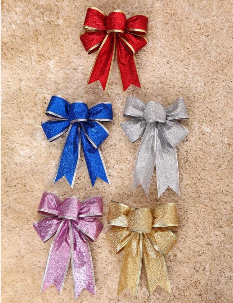 5 Unids / lote 25 cm Grande Brillante Glitter Ribbon Bow Decoración - Para fiestas y celebraciones - foto 2