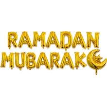 HAOCHU 16 cali Ramadan dekoracji EID Mubarak balon z folii aluminiowej księżyc gwiazda srebrny złoty list garnitur domu ściany dla muzułmanów