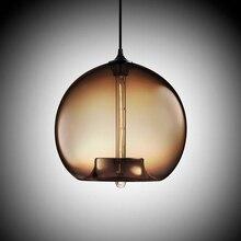 6 цвет Красочный стеклянный шар led Подвеска Лампы современный e27/e26 светодиодные фонари шнур T225 лампы для ресторан гостиная кафе бар