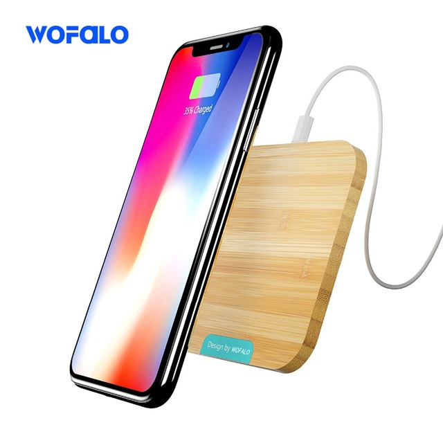 Phone X Wireless Charger, Wofalo Bamboo Qi Wireless