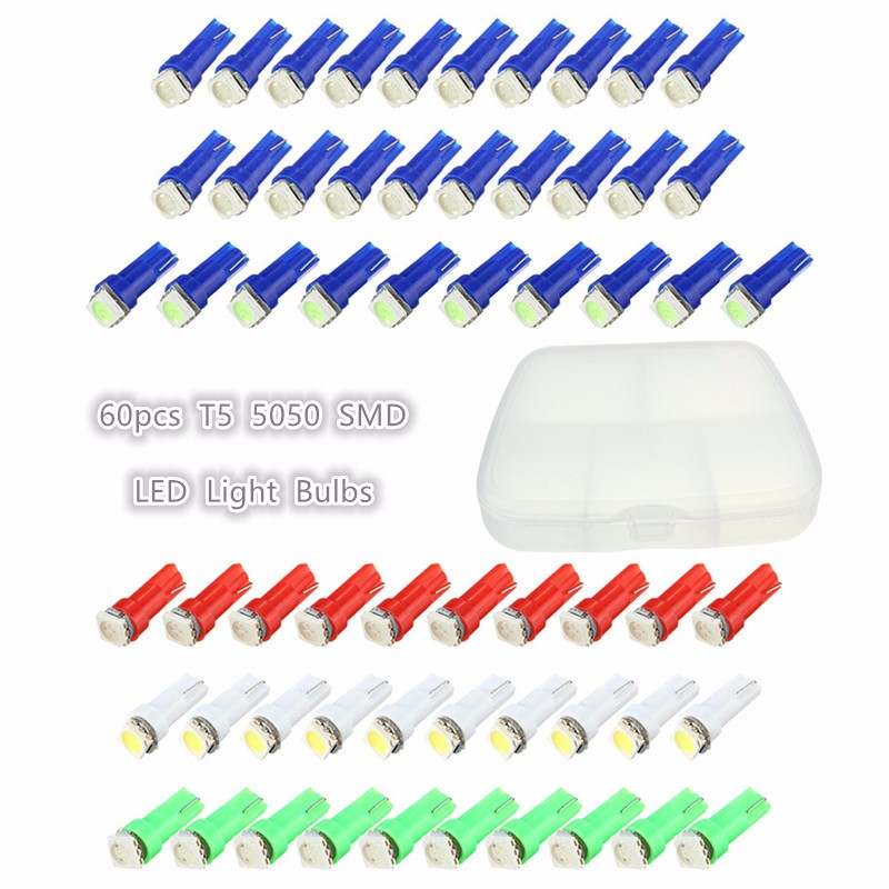 60Pcs T5 1 SMD 5050 LED Car Auto Instrument Interior LED Dashboard Light LED Bulb Lamp Red/Blue/Green/Ice Blue/White For Ford brand fishing chair portable chair folding seat stool fishing camping hiking folding stool seat picnic garden bbq super light