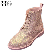 HEE GRAND Lace-Up Ankle Boots Woman Platform Autumn Shoes Woman Glitter Casual Nubuck Leather Slip On Flats Women Boots XWX4718