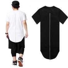 kanye West Long Back Zipper t-shirt Short Sleeve Hip Hop Extended t shirt versa shirt ce Tee Tops