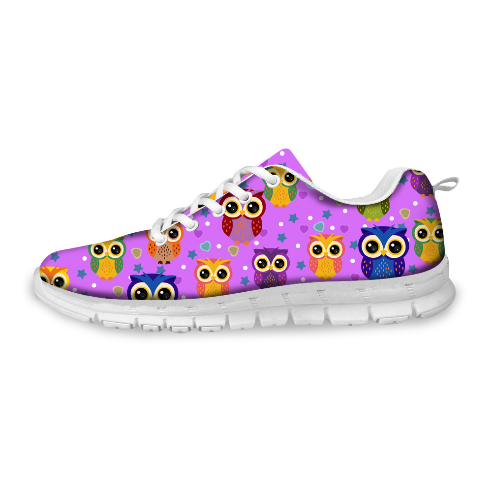 NOISYDESIGNS 2018 Spring Women Flats Shoes Cute Animal Owl 3D Print Comfortable Sneakers Women Flat Lacing Shoes Woman Zapatos in Women 39 s Flats from Shoes