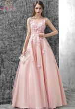 Simple Prom Dress 2019 New Sleeveless O-neck Pink Tulle With Appliques Beading Sequined Lace-up Floor Length A-line Evening Gown fancy pink flower girl dress with appliques half sleeves knee length a line gown with ribbon bows for christmas 0 12 years old