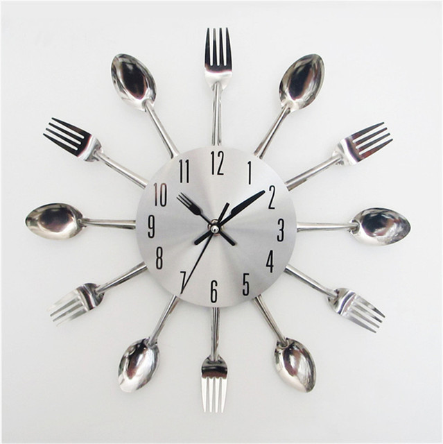 Home Decor Popular 3D Modern Design Sliver Cutlery Kitchen Utensil Wall  Clock Spoon Fork Clock HotSell Sticker Wholesale New