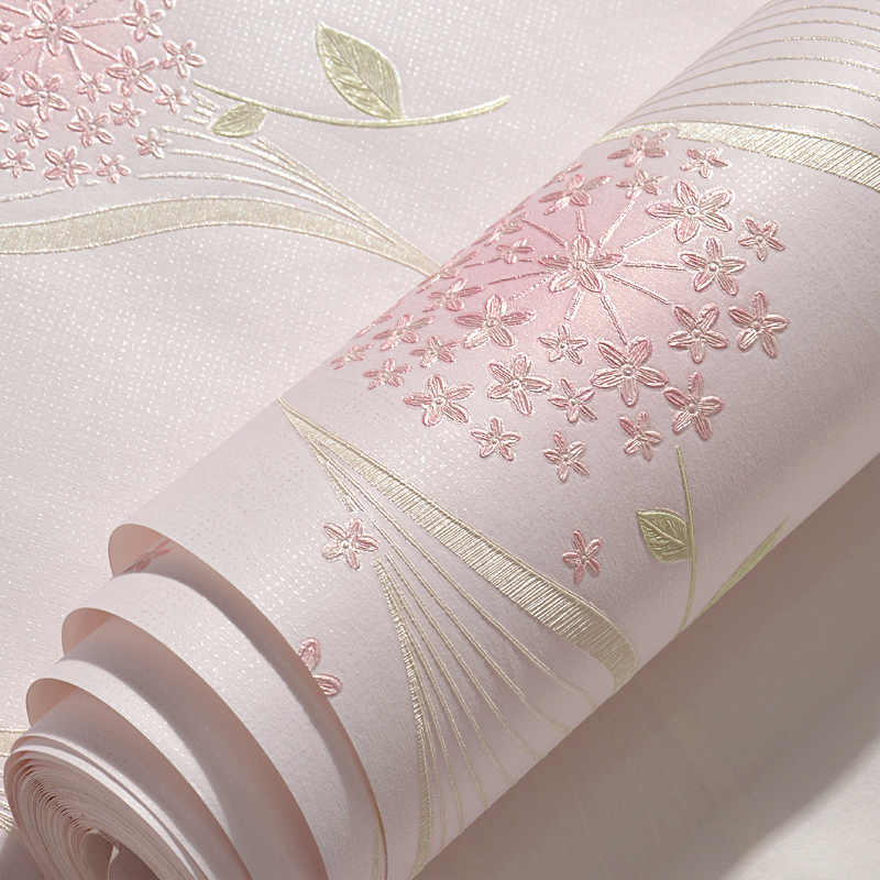 2018 New Dandelion Flower Wallpaper Stickers Sweet Blue Pink Girl Bedroom Decor 3d Wall Papers Kids Rooms Adhesive Sticker QT031