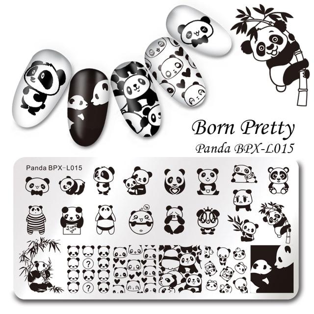 BORN PRETTY Rectangle Nail Stamping Plate Cute Panda Manicure Nail ...