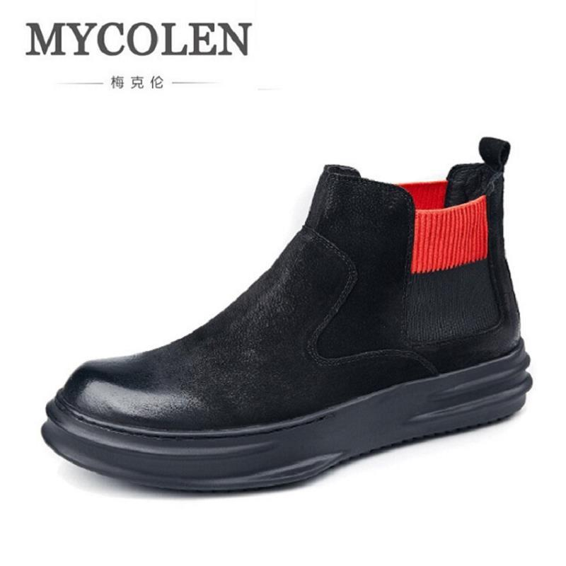 MYCOLEN New Winter Men Boots High Quality Genuine Leather Men Ankle Shoes Men British Style Motorcycle Boots Botines Hombre